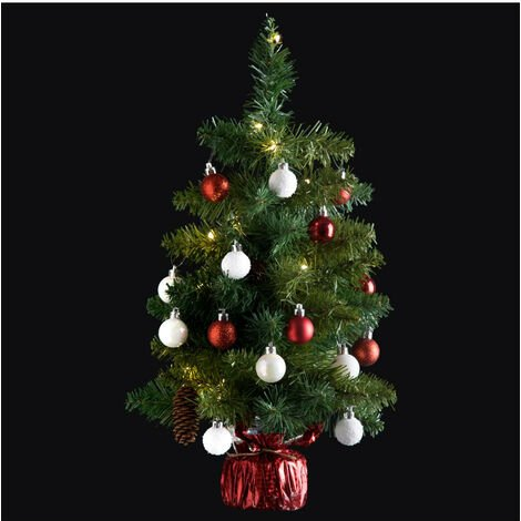Feeric Christmas - Arbre de Noël lumineux Sapin artificiel avec décoration et guirlande lumineuse H 50 cm