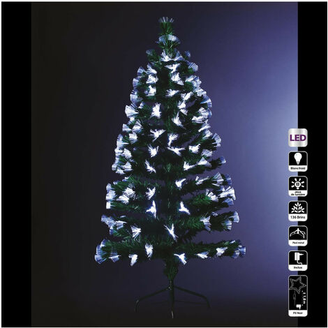 Feeric Christmas - Arbre de Noël lumineux Sapin Artificiel Vert 136 bouquets de fibre optique blanche H 120 cm
