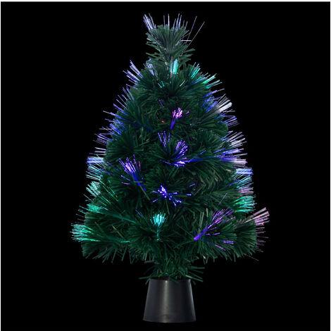 Feeric Christmas - Arbre de Noël lumineux Sapin artificiel vert en fibre optique multicolore H 45 cm
