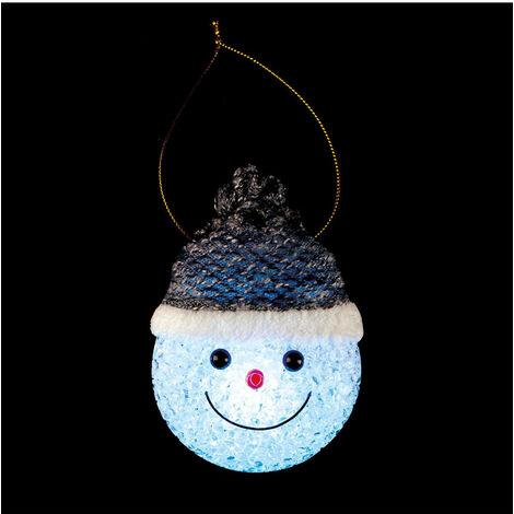 Feeric Christmas - Déco de Noël lumineuse Tête de bonhomme de neige à suspendre LED à variation de couleur H 8.5 cm