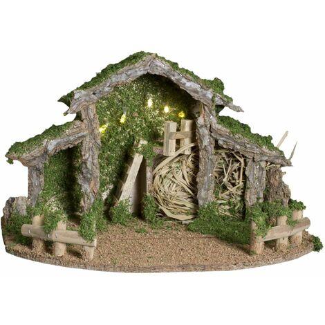 Feeric Christmas - Décoration Crèche de Noël décorée et lumineuse 5 LED H 22.5 cm