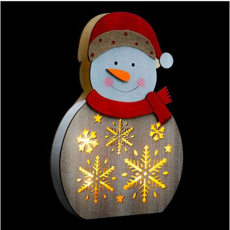Feeric Christmas - Décoration de Noël Personnage Lumineux en bois à poser H 30 cm
