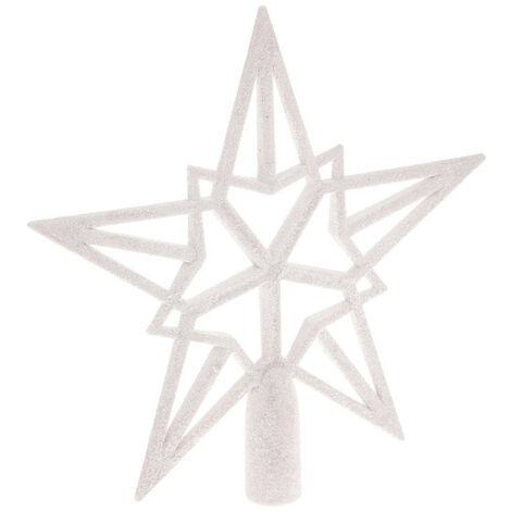 Feeric Christmas - Décoration de sapin de Noël Cimier Blanc pailleté 20 x 20 cm