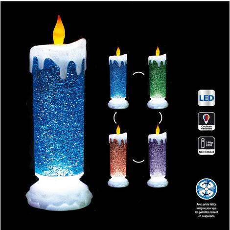 Feeric Christmas - Décoration Intérieur lumineuse Bougie chandelle LED à couleurs changeantes et paillettes H 26 cm