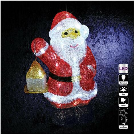 Feeric Christmas - Décoration lumineuse Père Noël avec lanterne 40 LED H 30 cm
