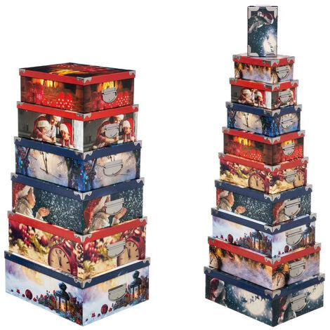 Feeric Christmas - Lot de 16 Boîtes de rangement avec poignées et coins en métal déco Noël magique
