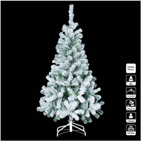 Feeric Christmas Sapin De Noël Artificiel Vert Enneigé H 150 Cm Collection Floqué