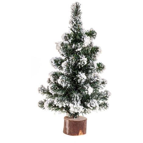 Feeric Christmas - Sapin de table artificiel floqué Blanc sur socle en bois H 25 cm A l'orée des bois
