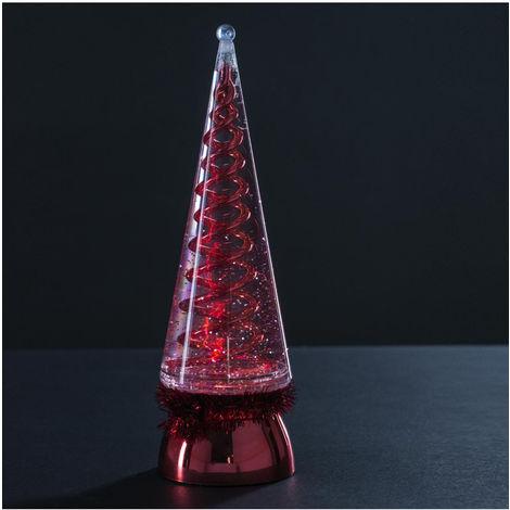Feeric Christmas - Sapin lumineux conique pailleté à LED à variation de couleur H 28.5cm