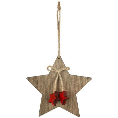 Feeric Christmas - Sujet de Noël à suspendre Étoile avec noeud étoiles en bois