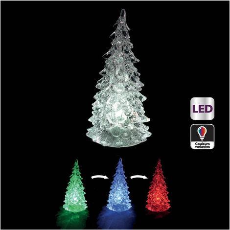 Feeric Christmas - Sujet de Noël lumineux Sapin LED à variation de couleur H 14 cm