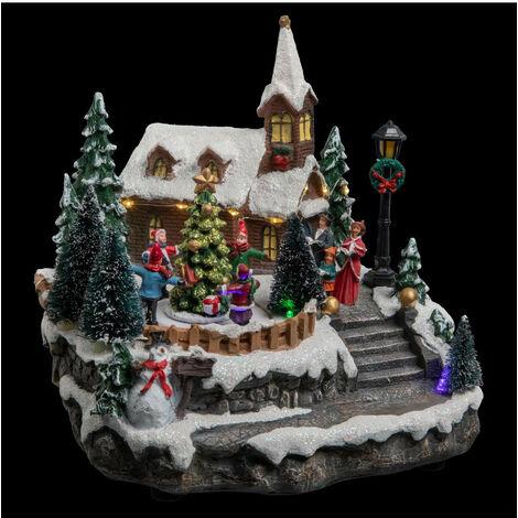 Feeric Christmas - Village de Noël lumineux et animé Eglise et Sapins
