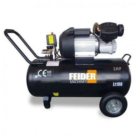 Feider Compresseur 100 Litres 3 Cv Bi Cylindre Lubrifié Fc100l A
