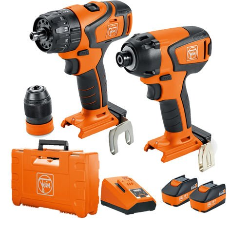 Fein 71901861240 18V Brushless Impact Driver & Combi Drill Twin Pack With 2 x 5.2Ah Batteries Charger:18V