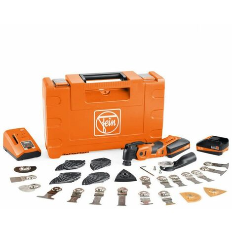 Fein AMM 700 Max Top 18V Oscillating Multi-Tool + 60 Piece Acc, 2 x 3.0Ah Batteries, Charger & Case
