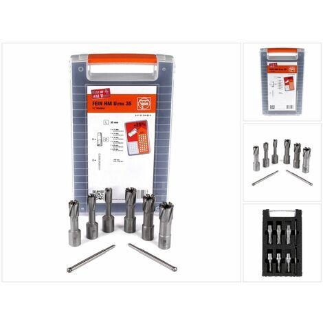 """FEIN HM Ultra 35 Set d'accessoires Best of cutters weldon 3/4"""" avec 6 Fraises à carotter et 2 éjecteur + Coffret plastique ( 63127714020 )"""