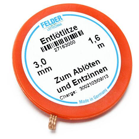 Felder Solder mèche, orange, 1.6m, 3,0mm, flux imbibé pour le dessoudage