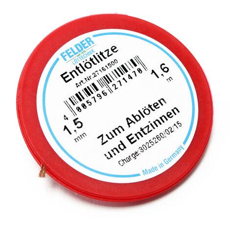 Felder Solder mèche, rot, 1.6m, 1,5mm, flux imbibé pour le dessoudage