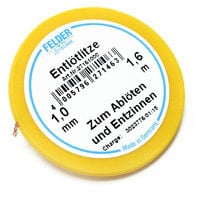 Felder Solder Wick, yellow, 1.6m, 1,0mm, flux-soaked for desoldering
