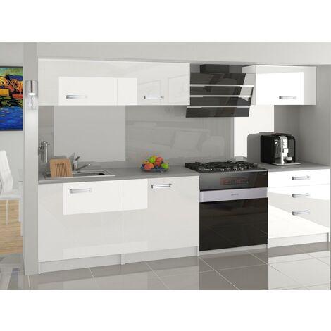 FELICIA   Cuisine Complète Modulaire Linéaire L 180cm 6 pcs   Plan de travail INCLUS   Ensemble armoires modernes de cuisine   Blanc