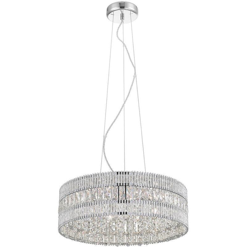 11-italux - Felicia Kristall Pendelleuchte Transparentes Silber