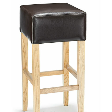 Felix Wood Bar Stool With Padded Leather Seat - Fully Assembled 3 Colours