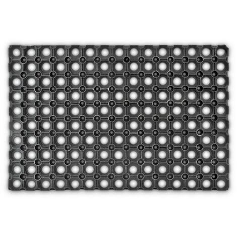 – Felpudo antideslizante para la entrada de su hogar hecho de goma/caucho con medidas 40 x 60 cm elemento decorativo resistente a la húmedad, color negro