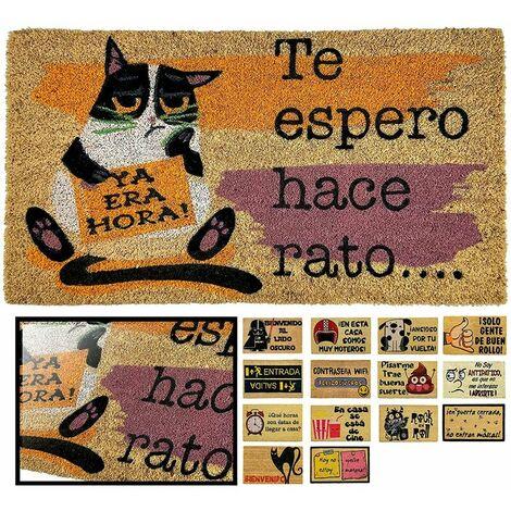 FELPUDO COCO NATURAL GATO ESPERO 40X70CM ENTRADA CASA, FELPUDO DIVERTIDO Y GRACIOSO, FELPUDO DE COCO ANTIDESLIZANTE PARA INTERIOR O EXTERIOR