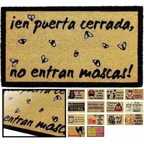 FELPUDO COCO NATURAL MOSCAS 40X70CM ENTRADA CASA, FELPUDO DIVERTIDO Y GRACIOSO, FELPUDO DE COCO ANTIDESLIZANTE PARA INTERIOR O EXTERIOR
