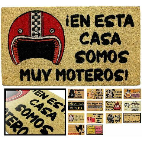 FELPUDO COCO NATURAL MOTEROS 40X70CM ENTRADA CASA, FELPUDO DIVERTIDO Y GRACIOSO, FELPUDO DE COCO ANTIDESLIZANTE PARA INTERIOR O EXTERIOR