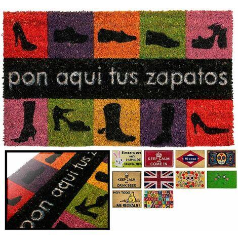 FELPUDO COCO NATURAL PON ZAPATOS 40X70CM ENTRADA CASA, FELPUDO DIVERTIDO Y GRACIOSO, FELPUDO DE COCO ANTIDESLIZANTE PARA INTERIOR O EXTERIOR