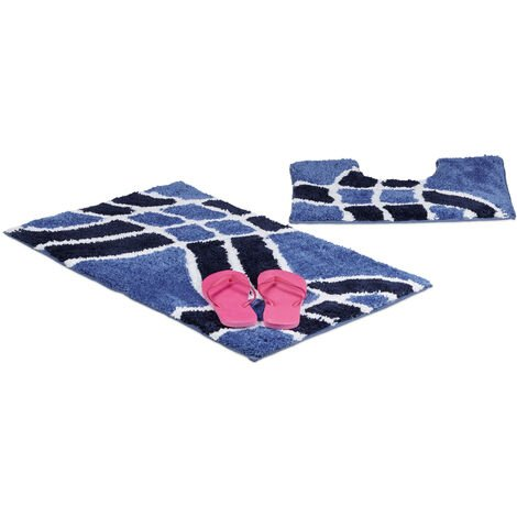 – Felpudo, conjunto de 2 piezas para el cuarto de baño, con patron de olas, lavable, para el WC, 80 x 50, color azul