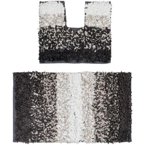 – Felpudo, conjunto de 2 piezas para el cuarto de baño, diseño Shaggy, lavable, para el WC, 80 x 50, marrón/beige