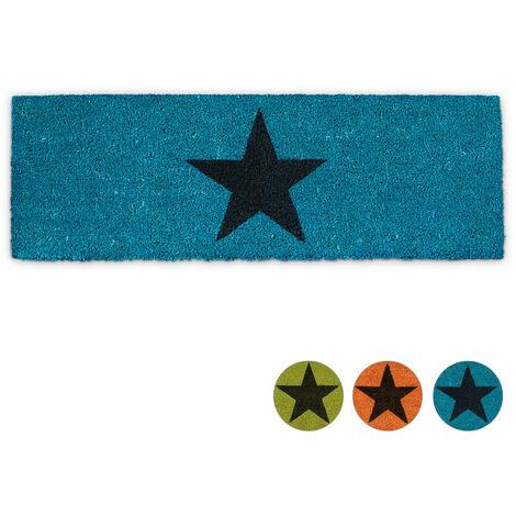 – Felpudo ESTRELLA para la entrada del hogar, 1.5 x 75 x 25 cm, Fibra de coco y PVC, antideslizante, Color azul