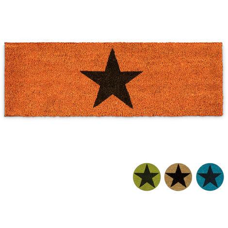 – Felpudo ESTRELLA para la entrada del hogar, 1.5 x 75 x 25 cm, Fibra de coco y PVC, antideslizante, Color naranja