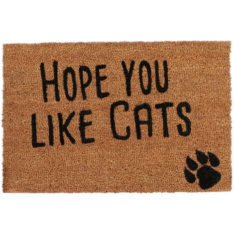 Felpudo Exterior Antideslizante Hope you like Cats, Fibra de Coco-PVC, Natural-Negro, 40 x 60 cm