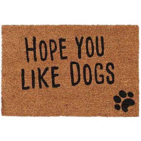Felpudo Exterior Antideslizante Hope you like Dogs, Fibra de Coco-PVC, Natural-Negro, 40 x 60 cm