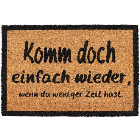 Felpudo Exterior Antideslizante «KOMM WIEDER», Fibra de Coco-PVC, Marrón-Negro, 60 x 40 cm