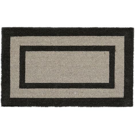 – Felpudo extra grande para la entrada del hogar, 1.5 x 75 x 45 cm, Fibra de coco y PVC, antideslizante, color gris