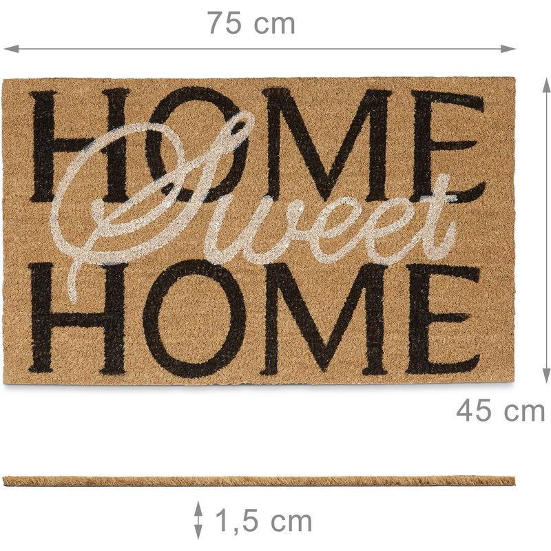 Felpudo semicircular para la Entrada de su hogar Hecho de Fibras de Coco y PVC con Medidas 75 x 45 cm Antideslizante Elemento Decorativo Color Natural Relaxdays