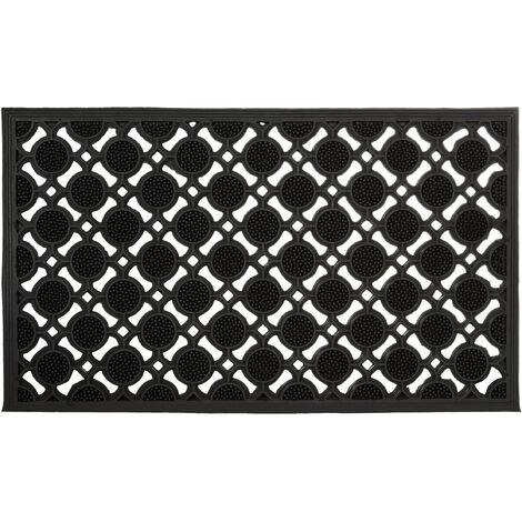 – Felpudo rectangular decorativo para la entrada del hogar, 0.5 x 75 x 45 cm, hecho de caucho/goma, antideslizante, Color negro
