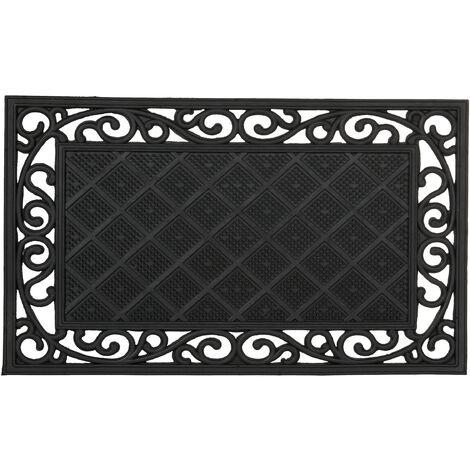 – Felpudo rectangular para la entrada del hogar, patrones florales, 0.5 x 75 x 45 cm, hecho de caucho/goma, antideslizante, Color negro