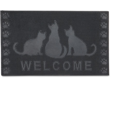 – Felpudo rectangular WELCOME decorativo para la entrada del hogar, Motivo de gatos, 0.5 x 75 x 45 cm, hecho de caucho/goma, antideslizante, Color negro