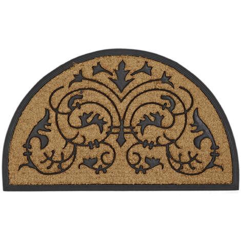 – Felpudo semicircular con adornos florales para la entrada de su hogar hecho de fibras de coco y PVC con medidas 100 x 60 cm antideslizante elemento decorativo, color natural