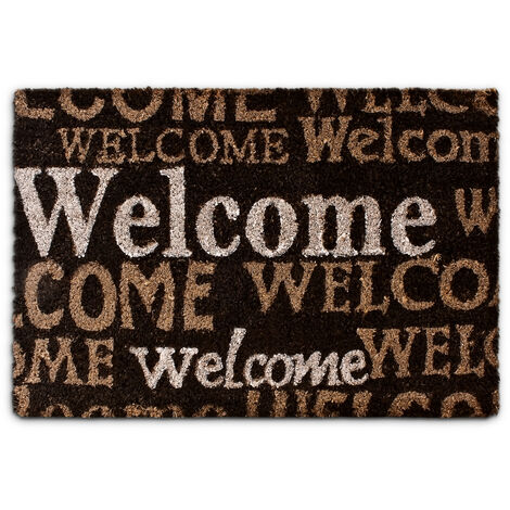 """– Felpudo """"Welcome"""" para la entrada de su hogar hecho de fibras de coco y PVC con medidas 40 x 60 cm antideslizante elemento decorativo, color marrón oscuro"""