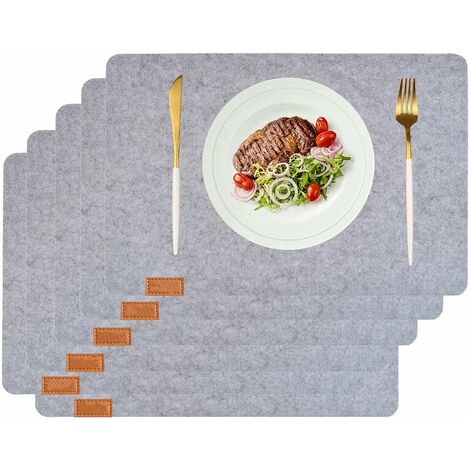 Felt Placements Rug Stain Resistant Washable Place Mat Set of 6 Heat Resistant Dinner Table Mat (Light Gray)