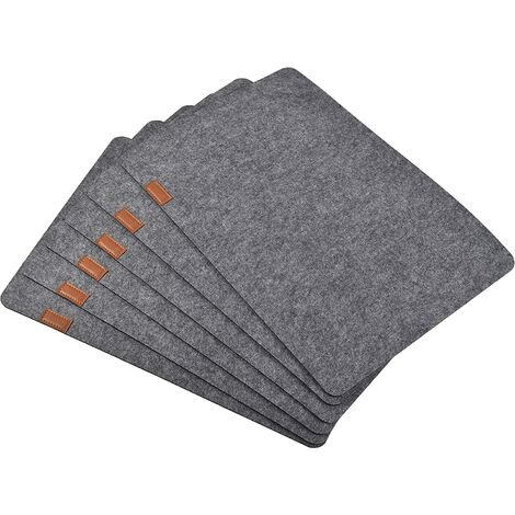 Felt Placements Set of 6 Absorbent Table Mats NO SLIME PLACE HEAT RESISTANT RESISTANT Mat for wooden table (gray)