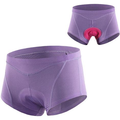 Femmes Velo Sous-Vetements 3D Gel Rembourre Vtt Velo Briefs De Velo Vtt Shorts Sous-Vetements, Violet, M