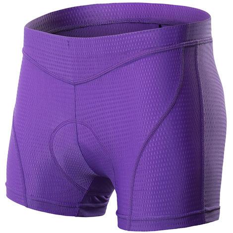 Femmes Velo Sous-Vetements 3D Matelassee Vtt Velo & Velo Shorts Sous-Vetements, Violet, Xxl