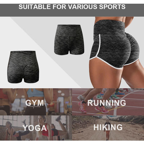 Femmes Yoga Shorts Taille Haute Bodycon Courir Gym Fitness Workout Sport Pantalons De Sport, Noir, 4Xl